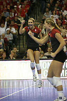 16 December 2006: Stanford Cardinal Kristin Richards and Bryn Kehoe during Stanford's 30-27, 26-30, 28-30, 27-30 loss against the Nebraska Huskers in the 2006 NCAA Division I Women's Volleyball Final Four Championship match at the Qwest Center in Omaha, NE.