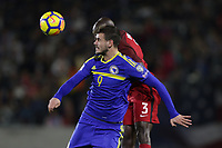 Carson, CA - Sunday January 28, 2018: Elvir Koljic, Ike Opara during an international friendly between the men's national teams of the United States (USA) and Bosnia and Herzegovina (BIH) at the StubHub Center.