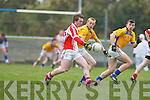 Caoimhghin O Beaglaioch Chorca Dhuibhne sets up another attack against De La Salle in Knocknagree on Sunday