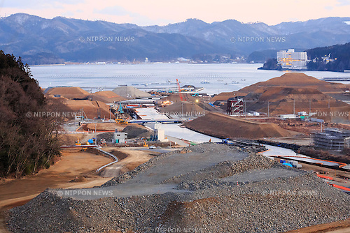 A landscape view of Minamisanriku city five years after the 2011 Tohoku Earthquake and Tsunami on February 11, 2016, Miyagi Prefecture, Japan. <br /> A few weeks before of the fifth anniversary of 2011 Tohoku Earthquake and Tsunami, the Japanese government announced that the second half of the reconstruction work in the Tohoku area is expected to be concluded before the 2020 Tokyo Olympics begin. <br /> According to the official Reconstruction Agency's website approximately $250 billion were allocated to the first period (2011-2015) and $65 billion more have been set aside for a ''Reconstruction and Revitalisation Period'' starting from fiscal 2016. The Agency also reported that the number of evacuees has decreased from over 470,000 to about 180,000 in the 5 years since the disaster. According to the latest Japanese National Police Agency figures (published on February 10, 2016) 15,894 people died as a result of the earthquake and tsunami and 2,562 are still listed as missing; 6,152 people were injured, and 121,803 properties collapsed. <br /> Areas devastated by the earthquake and tsunami like Minamisanriku, Kesennuma, Onagawa, and Ishinomaki are in the process of recovery but reconstruction in parts of Fukushima will take much longer due to radiation contamination. (Photo by Rodrigo Reyes Marin/AFLO)