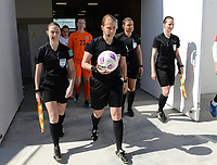 20190301 - LARNACA , CYPRUS : referees pictured with assistant referee Sian Massey ,  Esther Staubli , Cypriotic referee Androula Saitti Mouhtari and assistant referee Susanne Kung during a women's soccer game between Finland and Czech Republic , on Friday 1 March 2019 at the AEK Arena in Larnaca , Cyprus . This is the second game in group A for Both teams during the Cyprus Womens Cup 2019 , a prestigious women soccer tournament as a preparation on the Uefa Women's Euro 2021 qualification duels. PHOTO SPORTPIX.BE | DAVID CATRY