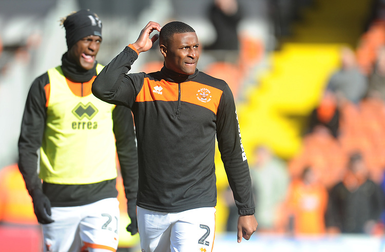 Blackpool's Donervon Daniels with Armand Gnanduillet in the background during the pre-match warm-up <br /> <br /> Photographer Kevin Barnes/CameraSport<br /> <br /> The EFL Sky Bet League One - Blackpool v Southend United - Saturday 9th March 2019 - Bloomfield Road - Blackpool<br /> <br /> World Copyright © 2019 CameraSport. All rights reserved. 43 Linden Ave. Countesthorpe. Leicester. England. LE8 5PG - Tel: +44 (0) 116 277 4147 - admin@camerasport.com - www.camerasport.com