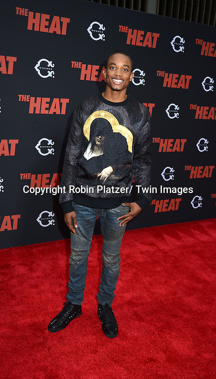 "Spoken Reasons attends the New York Premiere of ""The Heat"" on June 23,2013 at the Ziegfeld Theatre in New York City. The movie stars Sandra Bullock, Melissa McCarthy, Demian Bichir, Marlon Wayans, Joey McIntyre, Jessica Chaffin, Jamie Denbo, Nate Corddry, Steve Bannos, Spoken Reasons and Adam Ray."
