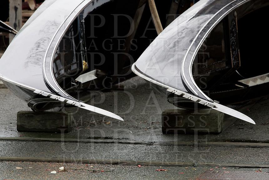 Gondole nel cantiere dello Squero San Trovaso a Venezia.<br /> Gondolas at the shipyard of the Squero San Trovaso, Venice.<br /> UPDATE IMAGES PRESS/Riccardo De Luca