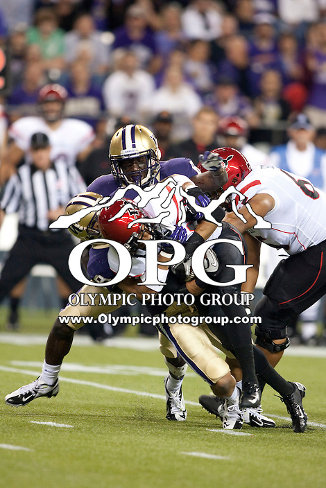 Sept 01, 2012:  San Diego State's Walter Kazee against Washington.  Washington defeated San Diego State 21-12 at CenturyLink Field in Seattle, Washington...