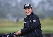 1st October 2017, Windross Farm, Auckland, New Zealand; LPGA McKayson NZ Womens Open, final round;  Lydia Ko reacts as the rain come down and play is suspended