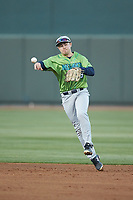 Lynchburg Hillcats second baseman Dillon Persinger (9) makes a throw to first base against the Winston-Salem Dash at BB&T Ballpark on May 1, 2018 in Winston-Salem, North Carolina. The Dash defeated the Hillcats 9-0. (Brian Westerholt/Four Seam Images)