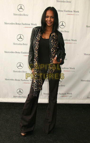 SAMANTHA MUMBA.Mercedes-Benz Spring 2007 L.A. Fashion Week Arrivals - Day 2 held at Smashbox Studios, Culver City, California, USA..October 16th, 2006.Ref: ADM/BP.full length leopard print scarf black leather jacket trousers.www.capitalpictures.com.sales@capitalpictures.com.©Byron Purvis/AdMedia/Capital Pictures.