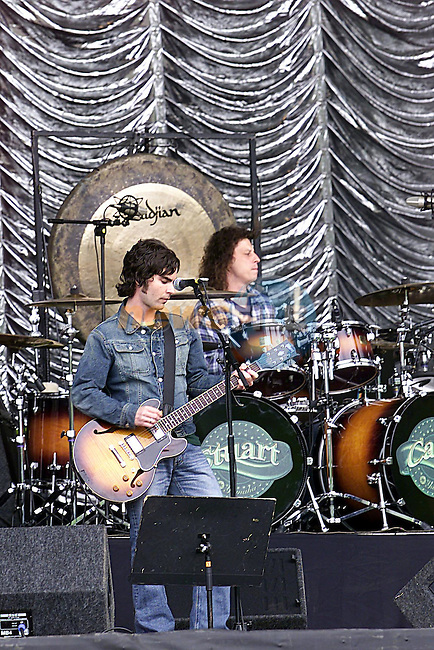 Stereophonics Kelly Jones and Stuart Cable on stage at Slane castle for Sound Checks..Pic Fran Caffrey Newsfile