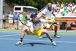 14 May 2016: Michigan's Tyler Gardiner and Myles Schalet (behind). The Wake Forest University Demon Deacons hosted the University of Michigan Wolverines at the Wake Forest Tennis Center in Winston-Salem, North Carolina in a 2015-16 NCAA Division I Men's Tennis Tournament Second Round match. Wake Forest won the match 4-2.