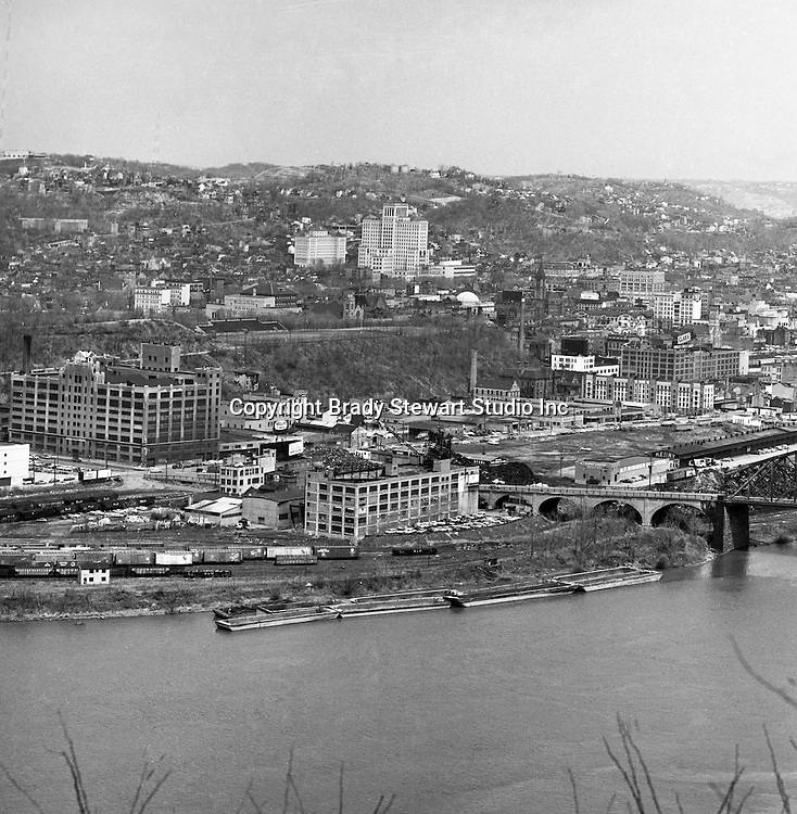 Pittsburgh PA:  View of the Northside with Alleheny General Hospital in the background - 1962