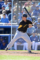 Infielder Chris McGuiness (69) of the Pittsburgh Pirates during a spring training game against the Toronto Blue Jays on February 28, 2014 at Florida Auto Exchange Stadium in Dunedin, Florida.  Toronto defeated Pittsburgh 4-2.  (Mike Janes/Four Seam Images)