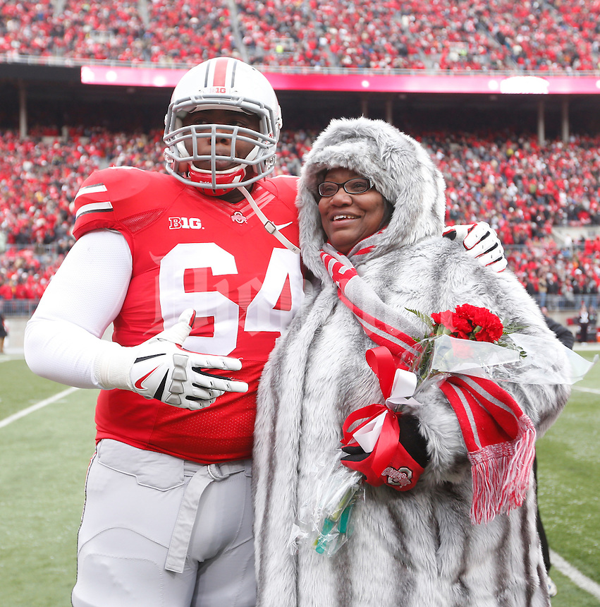 Ohio State Buckeyes offensive linesman Ivon Blackman (64) was one of nineteen seniors recognized before Saturday's NCAA Division I football game against Indiana at Ohio Stadium in Columbus on November 23, 2013. (Barbara J. Perenic/The Columbus Dispatch)