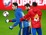 Spain's Sergio Rico, Nacho Fernandez and Thiago Alcantara during training session. March 23,2017.(ALTERPHOTOS/Acero)