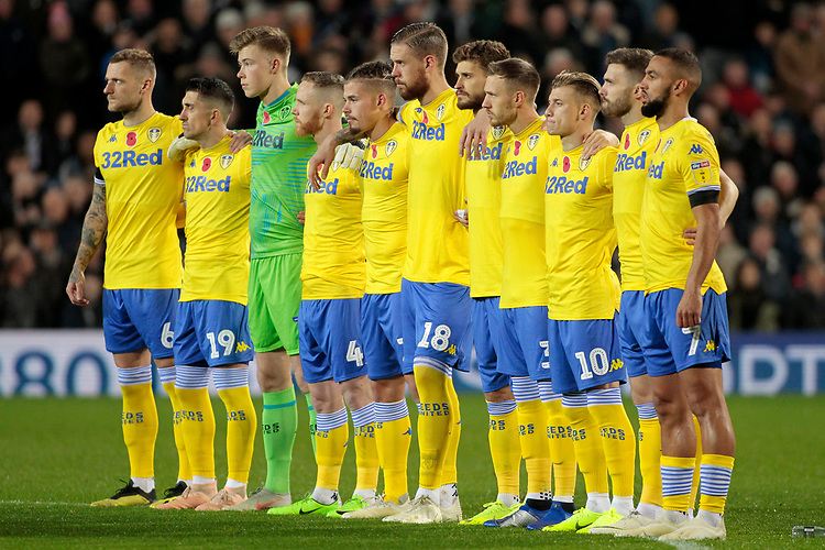 The Leeds United team line up for a minute's silence before kick off<br /> <br /> Photographer David Shipman/CameraSport<br /> <br /> The EFL Sky Bet Championship - West Bromwich Albion v Leeds United - Saturday 10th November 2018 - The Hawthorns - West Bromwich<br /> <br /> World Copyright © 2018 CameraSport. All rights reserved. 43 Linden Ave. Countesthorpe. Leicester. England. LE8 5PG - Tel: +44 (0) 116 277 4147 - admin@camerasport.com - www.camerasport.com