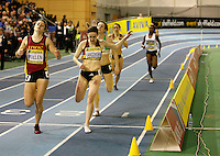 Photo: Richard Lane/Richard Lane Photography. Aviva World Trials & UK Championships. 13/02/2010. Emma Pullen (lt) heads in before Laura Langowski to win the women's 400m B Final heat.