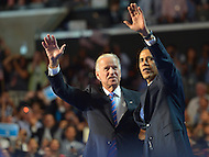 September 6, 2012  (Charlotte, North Carolina) President Barack Obama and Vice President Joseph Biden on the last night of the 2012 Democratic National Convention In Charlotte.   (Photo by Don Baxter/Media Images International)