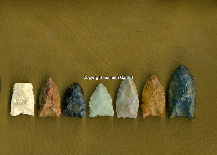 Left to right; Solutrean point; Oyster cove; Miles point; Cactus Hill; Meadowcroft; Jefferson Island; Long Marsh,  First Americans; Dennis Stanford; Chesapeake; Solutrean; Crossing Atlantic Ice; 20; 000BP