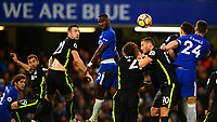 Antonio Rüdiger wins a header during the EPL - Premier League match between Chelsea and Brighton and Hove Albion at Stamford Bridge, London, England on 26 December 2017. Photo by PRiME Media Images.