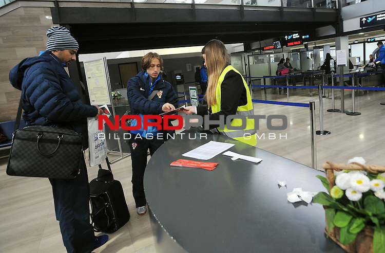 25.03.2013., Zagreb,Croatia  - Departure of Croatian national football team for qualifying match with  Wales.  Vedran Corluka, Luka Modric. <br /> <br /> Foto &not;&copy;  nph / PIXSELL / Daniel Kasap