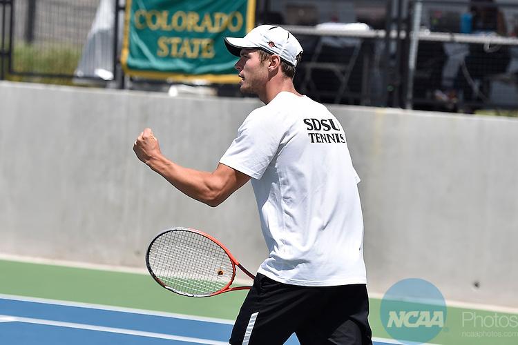23 APR 2015: The 2015 Mountain West Men's Tennis Championship takes place at the McKinnon Family Tennis Stadium in Albuquerque, NM. Justin Tafoya/NCAA Photos