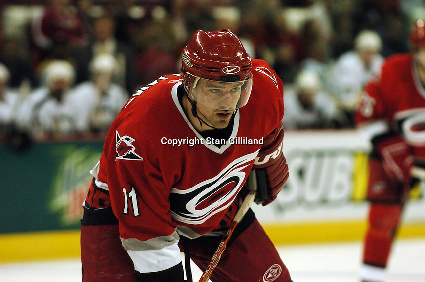 Carolina Hurricanes' Justin Williams concentrates for a face off against the Pittsburgh Penguins in Raleigh, NC Friday, February 10, 2006. The Penguins won the game 4-3.
