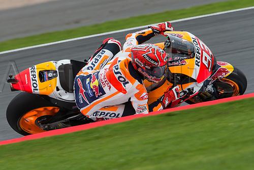26th August 2017, Silverstone Circuit, Northamptonshire, England; British MotoGP, Qualifying; Repsol Honda Team MotoGP rider rider Marc Marquez leans into the kerb