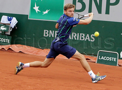 01.06.2016. Roland Grros, Paris, France. French Open tennis tournament. David Goffin, winner of his last 8 match against Gulbis in 4 sets