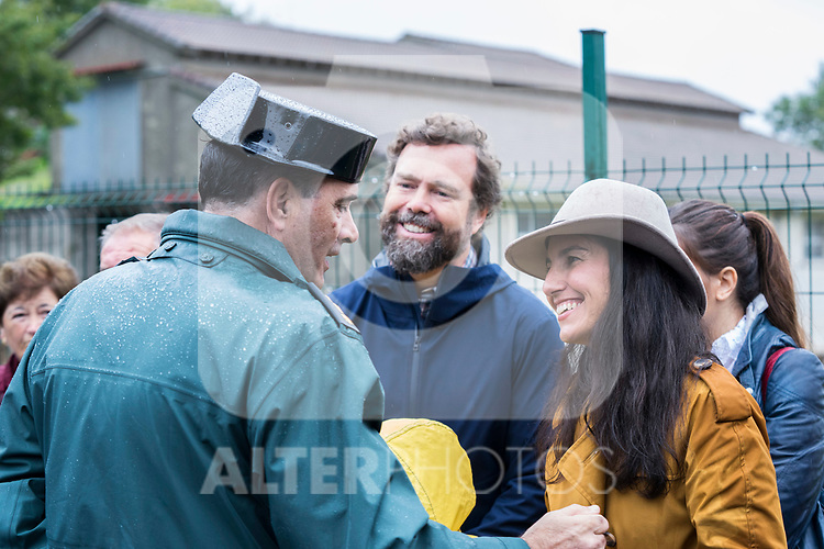 Rocio Monasterio and Ivan Espinosa de los Monteros, both of VOX, having a conversation with a police man during the visit of Spanish Royal Family to Asiego, the village who won the 'Exemplary Village Award' 2019. October 19, 2019 (Alterphotos/ Francis Gonzalez)