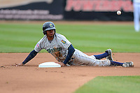 Cedar Rapids Kernels outfielder Byron Buxton #7 slides into second on a stolen base during a game against the Beloit Snappers on May 23, 2013 at Pohlman Field in Beloit, Wisconsin.  Beloit defeated Cedar Rapids 5-3.  (Mike Janes/Four Seam Images)