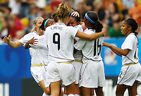 USA's Sydney Leroux (C) celebrates with teammates after scoring 2:0 during the FIFA U20 Women's World Cup at the Rudolf Harbig Stadium in Dresden, Germany on July 17th, 2010.