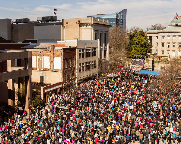 February 11, 2017. Raleigh, North Carolina.<br /> <br /> Thousands gathered in downtown Raleigh for the annual HKONJ People's Assembly, a civil rights march tied to the Moral Monday movement. Supporters from around the state gathered to march and speak out against nationwide attacks on civil rights and the Trump administration.<br /> <br /> Jeremy M. Lange for The New York Times
