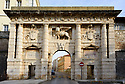 The Land Gate (Kopnena Vrata), crowned with Venetian winged lion, Zadar, Croatia.