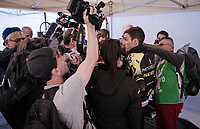 Simon Yates (GBR/Mitchelton-Scott) mobbed by the press after he finishes 2nd at Stage 1 (ITT): Bologna to Bologna/San Luca (8.2km)<br /> 102nd Giro d'Italia 2019<br /> <br /> ©kramon