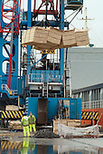 Workers at Immingham Docks, on the Humber estuary, unload a shipment of timber from the Baltic states.