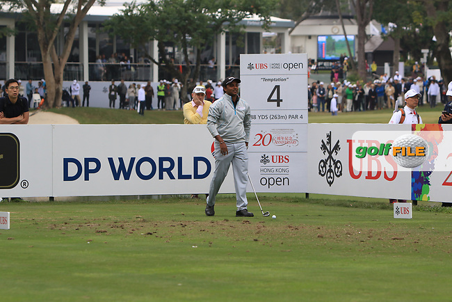 S.S.P. Chawrasia (IND) on the 4th tee during Round 3 of the UBS Hong Kong Open, at Hong Kong golf club, Fanling, Hong Kong. 25/11/2017<br /> Picture: Golffile | Thos Caffrey<br /> <br /> <br /> All photo usage must carry mandatory copyright credit     (&copy; Golffile | Thos Caffrey)