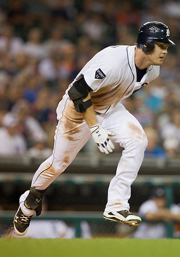 July 19, 2011:  Detroit Tigers right fielder Brennan Boesch (#26) runs to first base during MLB game action between the Oakland Athletics and the Detroit Tigers at Comerica Park in Detroit, Michigan.  The Tigers defeated the Athletics 8-3.