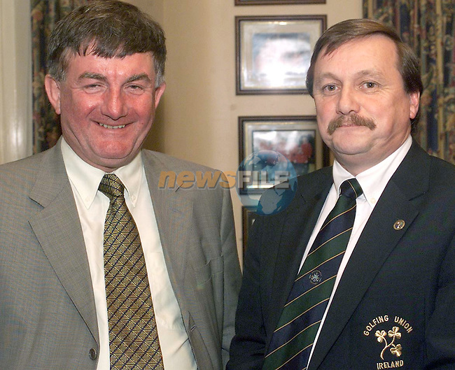 Kevin McIntyre, GUI (Right) with Michael Byrne, Vice Captain of Royal Tara at the County Louth Captains dinner held in County Louth Golf Club.