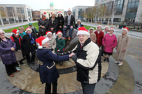 NO FEE PICTURES.30/11/11 Reg Lacey and Florence O'Neill with Fair City Stars Ciara O'Callaghan (Yvonne Doyle) and Sam O'Mahony (Finn McGrath) and a group of older persons who use ALONE, at the launch of ALONE Christmas Campaign in Dublin. Pictures:Arthur Carron/Collins