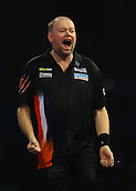 29.12.2015. Alexandra Palace, London, England. William Hill PDC World Darts Championship. Raymond van Barneveld shocks the darts world and beats Michael van Gerwen