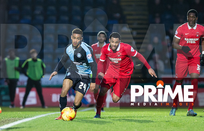Paris Cowan-Hall of Wycombe Wanderers & Frazer Shaw of Leyton Orient battle for the ball during the Sky Bet League 2 match between Wycombe Wanderers and Leyton Orient at Adams Park, High Wycombe, England on 23 January 2016. Photo by Andy Rowland / PRiME Media Images.