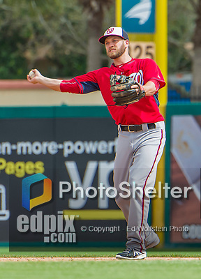 10 March 2015: Washington Nationals infielder Cutter Dykstra in Spring Training action against the Miami Marlins at Roger Dean Stadium in Jupiter, Florida. The Marlins edged out the Nationals 2-1 on a walk-off solo home run in the 9th inning of Grapefruit League play. Mandatory Credit: Ed Wolfstein Photo *** RAW (NEF) Image File Available ***