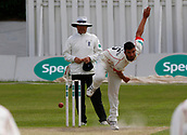 June 11th 2017, Trafalgar Road Ground, Southport, England; Specsavers County Championship Division One; Day Three; Lancashire versus Middlesex; Sadiq Mahmood of Lancashire bowls in his first spell of the Middlesex second innings; Lancashire were all out for 309 after lunch in reply to Middlesex's first innings score of 180 all out
