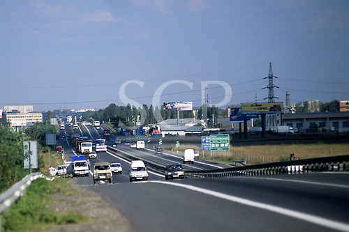 Bucharest, Romania. Busy road with mixed traffic.