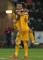 (L-R) Anthony Knockaert of Brighton and team mate Dale Stephens celebrateb their win during the Premier League match between Swansea City and Brighton and Hove Albion at The Liberty Stadium, Swansea, Wales, UK. Saturday 04 November 2017