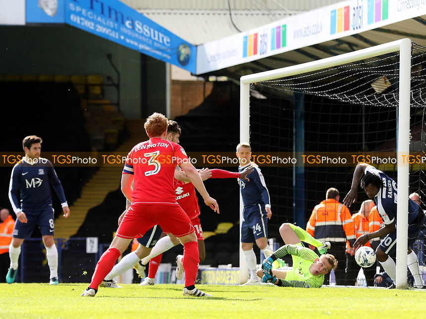 Joe Walsh scores MK Dons opening goal during Southend United vs MK Dons, Sky Bet EFL League 1 Football at Roots Hall on 17th April 2017