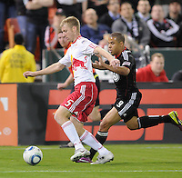 New York Red Bulls defender Tim Ream (5) shield the ball against DC United forward chalie Davies (9)    The New York Red Bulls defeated DC United 4-0, at RFK Stadium, Saturday April 21, 2011.