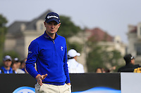 Justin Rose (ENG) on the 1st tee to start his match during Sunday's Final Round of the 2014 BMW Masters held at Lake Malaren, Shanghai, China. 2nd November 2014.<br /> Picture: Eoin Clarke www.golffile.ie