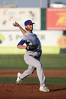 A.J. Puk (31) of the Stockton Ports pitches against the Lancaster JetHawks at The Hanger on May 12, 2017 in Lancaster, California. Lancaster defeated Stockton, 7-2. (Larry Goren/Four Seam Images)