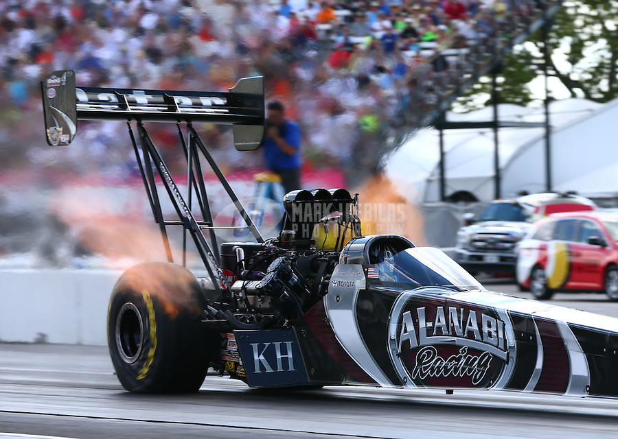 Sept. 2, 2013; Clermont, IN, USA: NHRA top fuel dragster driver Shawn Langdon during the US Nationals at Lucas Oil Raceway. Mandatory Credit: Mark J. Rebilas-